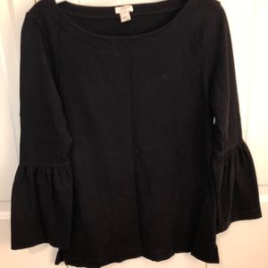 J crew bell sleeve black top. XS